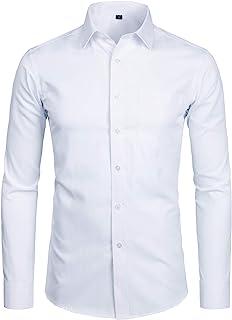 Men's Long Sleeve Dress Shirt Solid Slim Fit Casual...
