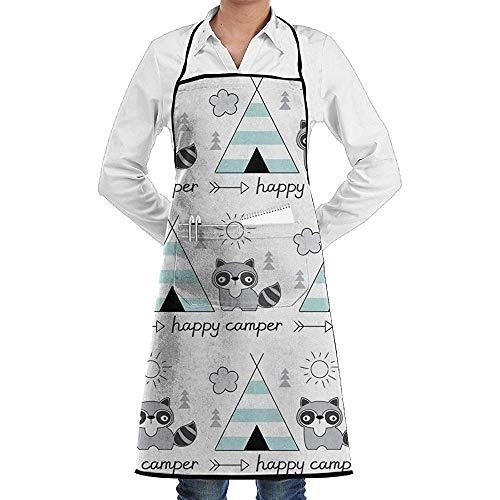 Pag Crane Glücklich mit Zelt Waschbär Unisex Küche Schürzen Koch Schürze Kochschürze Grill Schürzen