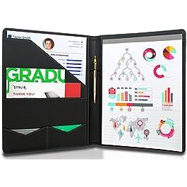 STYLIO Padfolio/Resume Portfolio Folder – Interview/Legal Document Organizer & Business Card Holder – with Letter-Sized…
