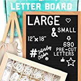 Letter Board 12x18 | +690 PRECUT Letters +Stand +Cursive Words +Upgraded Wooden Sorting Tray | (Black) Letter Board with Letters, Felt Letter Boards, letterboard, Word Board, Message Board