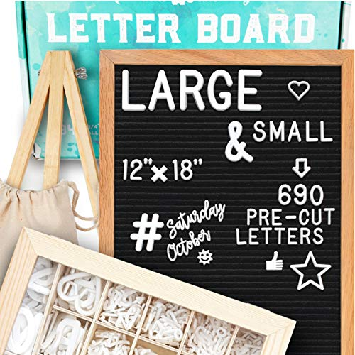 Letter Board 12x18   +690 PRECUT Letters +Stand +Cursive Words +Upgraded Wooden Sorting Tray   (Black) Letter Board with Letters, Felt Letter Boards, letterboard, Word Board, Message Board