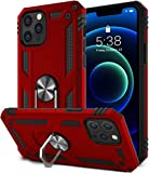 SATLITOG Compatible with iPhone 12 Case and iPhone 12 Pro Case, Military-Grade Shockproof Drop Protection Cover with Metal Rotating Kickstand for 6.1inch - Red
