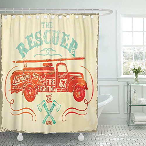 Emvency Shower Curtain Red Fireman Vintage Fire Fighting Label Firefighter Fighter Hose Waterproof Polyester Fabric 72 x 78 Inches Set with Hooks