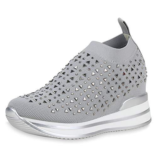 SCARPE VITA Damen Sneaker Wedges Turnschuhe Strass Keilabsatz Schuhe Plateau Slip On Freizeitschuhe Strick 191661 Hellgrau 36