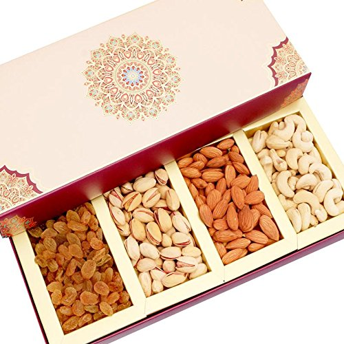 Ghasitaram Gifts Long Fusion 4 Part Dryfruit Box