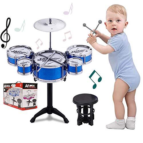 Kids Drum Set Toddler Instrument Set Educational Percussion Stimulating Children's Creativity Drum Set for Kids Boys and Girls Blue