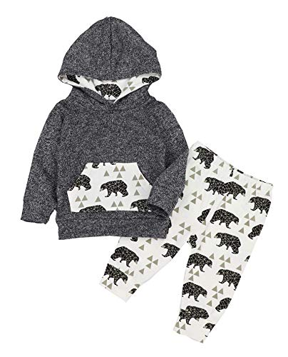 Von Kilizo Toddler Baby Boy Clothes Cut Baby Boy Hoodies Long Sleeves Jumpsuit Pants 2PCS 2-3 T Baby Boy Outfits