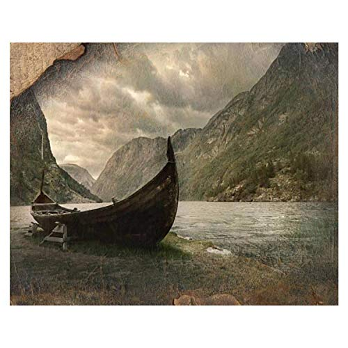 16x20' Old Viking Boat in Gudvangen Village Near Flam, Norway Paint by Numbers Kits for Adults Kids DIY Wall Art Picture Framed Canvas Oil Painting Set Digital Paintworks for Beginners