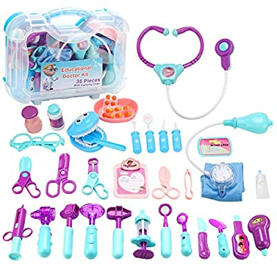 JORSTERN Doctor Kit for Kids,35 PCS Pretend Play Kids Doctor Kit Toys with Electronic Stethoscope,Kids Doctor Play Set for Toddler Boys Girls 3 4 5 6 7 8 Years Old by JORSTERN
