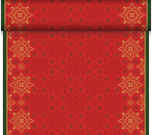 Duni - 184908 - Kerstmis Deco Kerst Tete a Tete/Tafelkleed - Rood - DUNICEL 0,4X24m - 4 stuks (4 verpakkingen van 1)