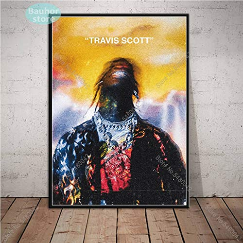 jiushibt Sin Marco Nuevo póster Travis Scott Music Star Rodeo Astroworld Álbum Pintura de Lienzo Carteles e Impresiones Arte de p40x60cm