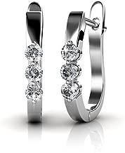 Cate & Chloe Lana Elegant 18k White Gold Plated Hoop Earrings with Swarovski Crystals, Triple Crystal Hoops for Women Set, Silver Round Earring Set, Wedding Anniversary Jewelry