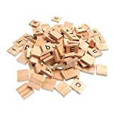 RayLineDo 100X Wooden Scrabble Tiles Letter Alphabet Scrabbles Number Crafts English Words Lowercase Mixed