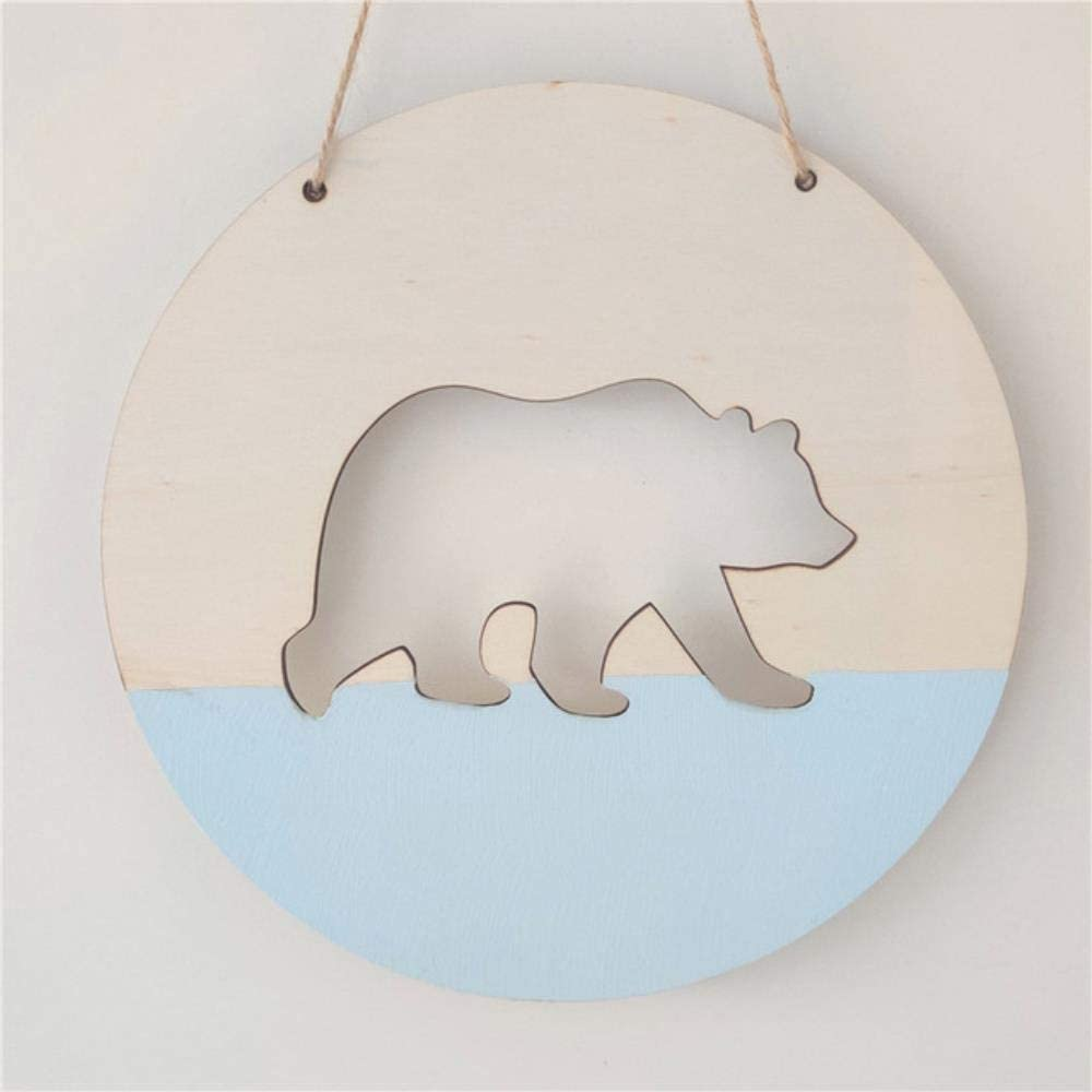 Blanco QIANHUA Nordic Polar Bear Wood Chip Colgante de Pared Guirnalda Tienda de Ropa para ni/ños Decoraci/ón de la habitaci/ón de los ni/ños Banner