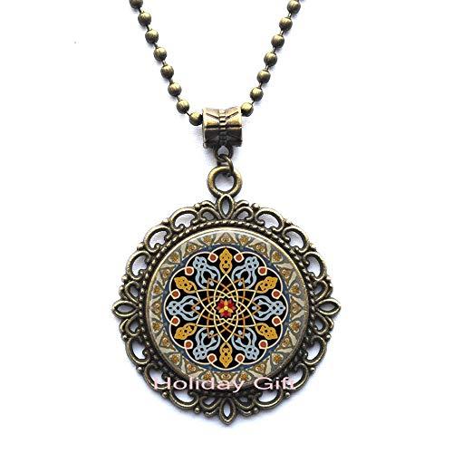 Holiday gift Celtic Jewelry-Glass Pendant Necklace-Celtic Decoration,Celtic Triangle,Celtic Knot,Celtic Necklace.HTY-294