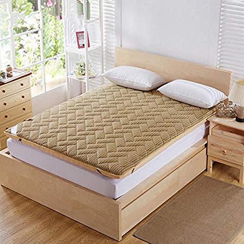 WENZHEN Colchon Gama Alta,Espesar colchones de futón de Piso japonés Transpirable Almohadillas de Dormir de Tatami Plegables para Invitados niños-Bronceado Suave_150x200 cm (59x79 Pulgadas)