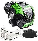 xxl snowmobile helmet modular - Typhoon G339 Adult Dual Visor Modular Snowmobile Helmet DOT Full Face Flip-up (Green, XXL)