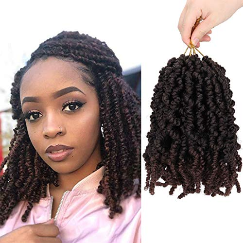 3 Packs Spring Twist Crochet Hair Pre Twisted Braids Short Curly Spring Braids 8Inch 18 strands/pack Spring Twists Fluffy Curly Twist Braiding Hair Pre-Twisted Passion Twists Crochet Braids(1B/33)