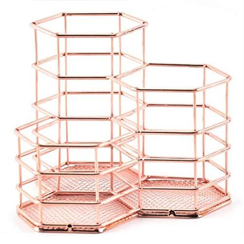 SNOWINSPRING Caja de Almacenamiento de Escritorio con Soporte para BolíGrafo Hexagonal, Soporte de LáPiz Suministros de Oficina de Oro Rosa para Oficina y Casa