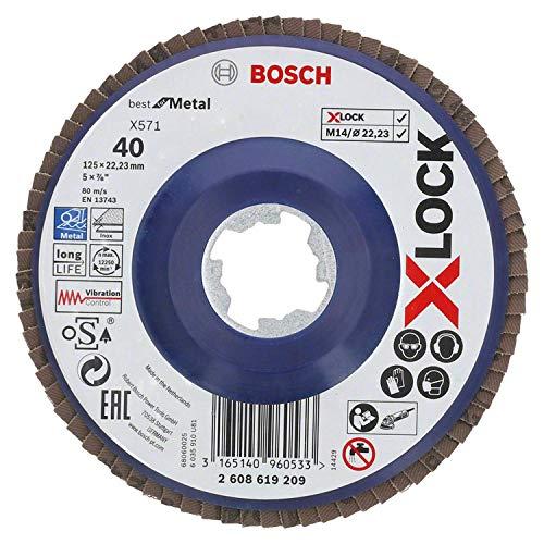 Bosch Professional gerade Fächerschleifscheibe Best (für Metall, X-LOCK, X571, Ø125 mm, Körnung K80, BohrungsØ 22,23mm)