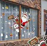 Yuson Girl Weihnachten Aufkleber Fenster Weihnachtsmann Elch Schneemann Abnehmbare Weihnachten Deko Wandtattoo Weihnachten Statisch Haftende PVC Aufkleber - 2