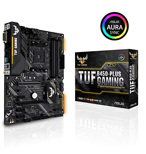ASUS TUF B450-PLUS Gaming Scheda Madre Gaming AMD B450 con Illuminazione a LED Aura Sync RGB, Supporto DDR4 4400 MHz, 32 Gbps M.2, HDMI 2.0b, Type C e USB 3.1 Gen 2 Nativo