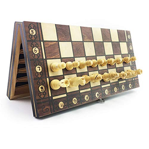 Magnetic Wooden Chess Backgammon Checkers 3 In 1 Chess Game Ancient Chess Travel Chess Set Wooden Chess Piece Chessboard Chess Pieces Set