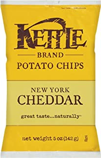 Kettle Brand Potato Chips, New York Cheddar, 5 Ounce Bags (Pack of 15)