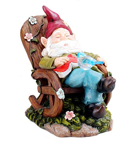 Bo-Toys Solar Powered Gnome Sleeping In a Chair LED Garden Light Decor