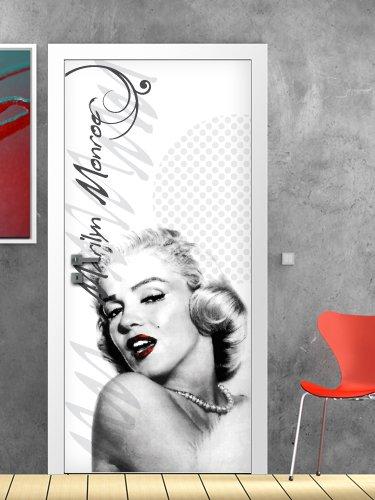 wall art PT0049 Decorazione Adesiva per Porte arredo casa - Porta Marilyn White - Stampa su PVC Adesivo Bubble Free