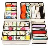 Organizador cajones ropa interior, 4 piezas organizador armario, separador cajones para ropa sujetadores calcetines corbatas bufandas, plegable organizador ropa interior organizador de cajones