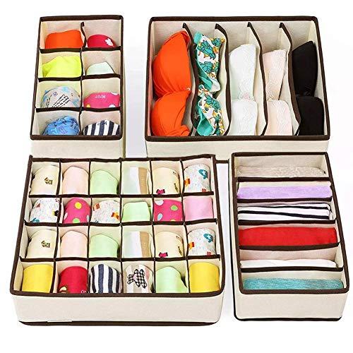 Organizador cajones ropa interior, 4 piezas organizador armario, separador cajones para ropa...