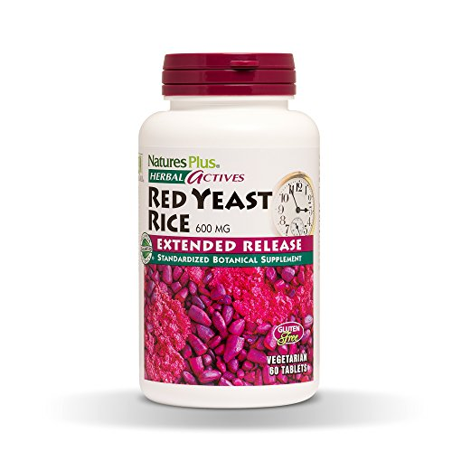 NaturesPlus Herbal Actives Red Yeast Rice, Extended Release - 600mg, 60 Vegan Tablets - Herbal Supplement - Cholesterol Support - Vegetarian, Gluten-Free - 60 Servings