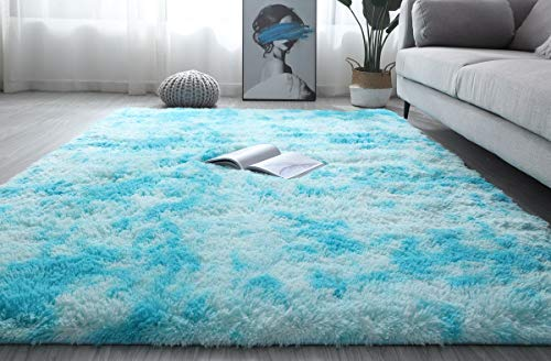Fluffy Area Rug Plush Carpet Decor Blanket Large Soft Gradient Tie-Dye Fur Rug Comfortable Mat For Kids Baby Living Room Bedroom Blue, 120x160cm(3.9x5.2ft)
