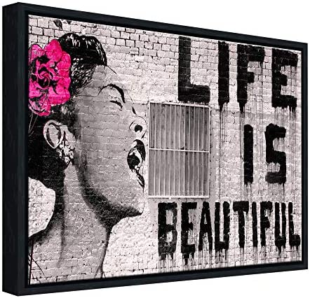 Wieco Art Framed Art Giclee Canvas Prints of Banksy Life is Beautiful Abstract Artwork for Wall product image