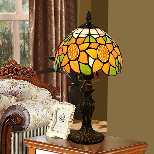 DALUXE Tiffany Style Mese Table Light Light Lectura Sunflower Girasol Sombrilla Shade Shade Lover Padre Niño Niño Escritorio de cabecera