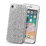 iPhone 8 ケース iPhone 7 ケース iPhone SE2 ケース ソフト スマホ ケース キラキラ ラメ かわいい ストラップ Qi対応 カバー 銀 iPhone8 / iPhone7 / iPhoneSE2,シルバー