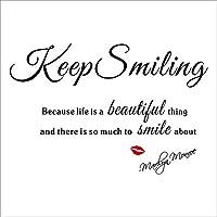 壁デコステッカー 簡単!壁に貼ってはがせます マリリン・モンロー 名言 Keep Smiling 「人生というものは美しいし、笑顔になれるものが沢山あるので、笑っていなさい。」