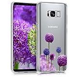 kwmobile Samsung Galaxy S8 Hülle - Handyhülle für Samsung Galaxy S8 - Handy Case in Blume Kugel Design Pink Violett Transparent