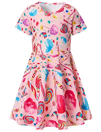 Toddler Girls Short Sleeve Dress Lollipop Candy Dress Pink Summer Dress Casual Swing Theme Birthday Party Sundress Toddler Kids Twirly Skirt 4-5T