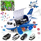 Super Vaule Toy Plane Set - Police airplane set includes 4 mini diecase police toy car, 7 road signs and 1 play mat. Children will have fun with their friends. Friction Powered Toy Airplane - The plane will glide a long distance while kids pushing it...