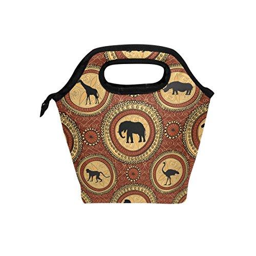 Bolsa de almuerzo, diseño de animales indios con aislamiento térmico y cierre de cremallera para niños y adultos