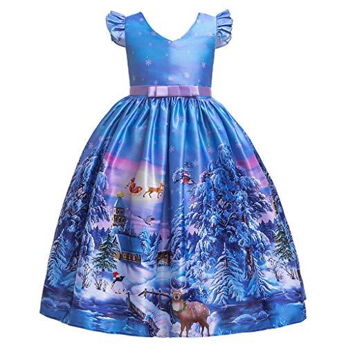 SYQS Print Jurk Voor Meisjes, Leuke Meisjes Kerst Jurk, Lange Sectie Van Het Kostuum Feestartikelen, Multi-functie Fancy Jurk Feestjurk C-120cm