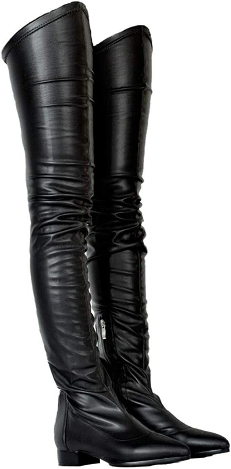 T-JULY Fashion Autumn Women Over The Knee Boots Zipper Thigh High Sexy Ladies shoes