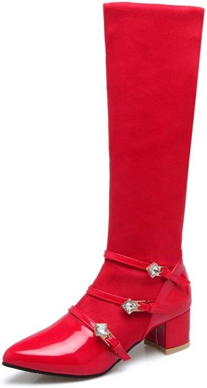 Zgshnfgk Women's Rhinestones Decoration Low Heel Platform Boots