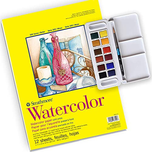 Strathmore Watercolor Paper Pad, 140 Pound, Cold Press, 12 Sheets, 11'x15' with Daler-Rowney Aquafine Half Pan Travel Watercolor Set, 12 Assorted Colors, Watercolor Paint Set