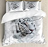 Ambesonne Animal Duvet Cover Set, Portrait of a White Tiger Wild Nature Predator Watercolor Splashes, Decorative 3 Piece Bedding Set with 2 Pillow Shams, King Size, White Black