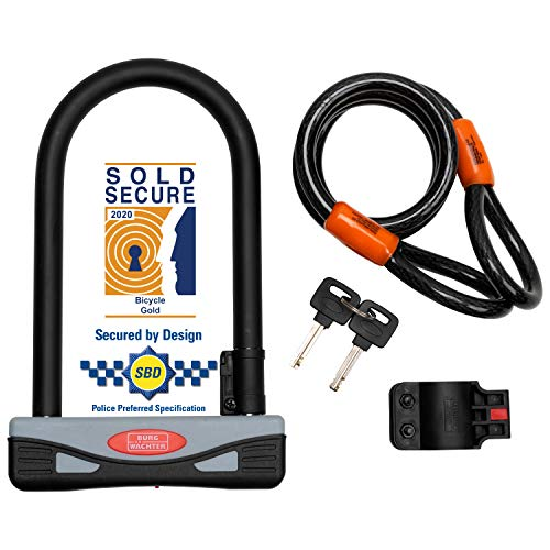 Burg-Wächter Gold Sold Secure Bicycle D Lock & 1.2M Security cable,One Size, Black