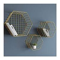 HJW 素朴な金属製の六角形のフローティングシェルフウォールマウント、本の植物のフォトフレームディスプレイ用の家の装飾スタンドディスプレイ収納ラック3パック1Huiyang-01020,ゴールド