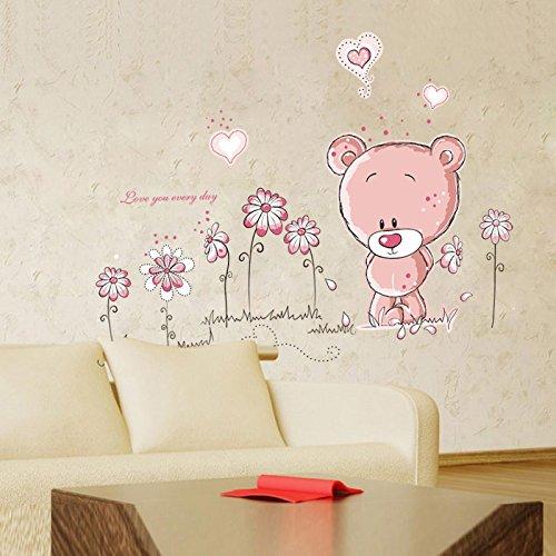 GyHTXHJPET muurstickers, creatief, mode, muurstickers, milieuvriendelijk, schilderen, decoratie van het huis, vliegtuig, decoratief papier, behang, kan naast de televisie kijken, op de boom van het kind, kleine beer, 100 x 75 cm